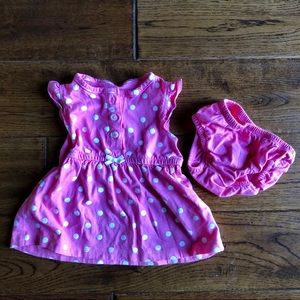 Carters 3 mo Pink Dress with bloomers